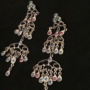 Chandelier Silver Tone Filigree Earrings